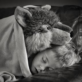 Wolfie & Dash by Dan Horton-Szar ARPS - Babies & Children Child Portraits ( dreaming, cosy, monochrome, toy, snuggle, wolf, black & white, sleeping, sleep,  )