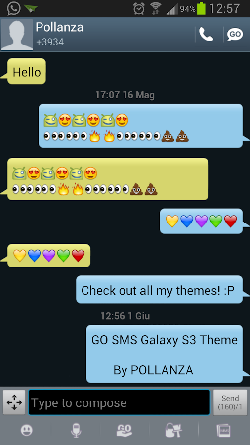GO SMS Galaxy S3 Theme- screenshot