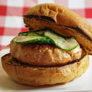 Salmon Burgers With Quick Soy Cucumbers.