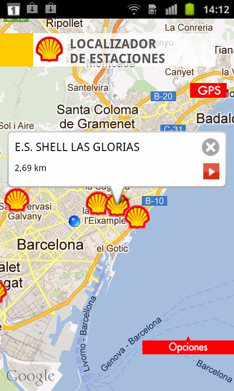 Shell, Estaciones de Servicio.- screenshot