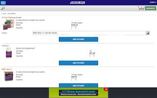 Screenshot of AdvoCare Online Ordering