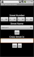 Screenshot of New York Cross streets