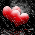 Rain On Red Hearts Live Wallpa icon