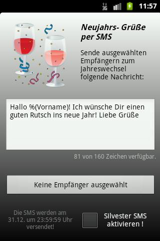 Silvester SMS- screenshot