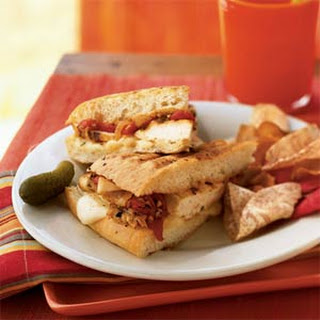Grilled Chicken and Roasted Red Pepper Sandwiches with Fontina Cheese Recipe