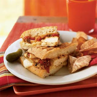 Grilled Chicken and Roasted Red Pepper Sandwiches with Fontina Cheese.