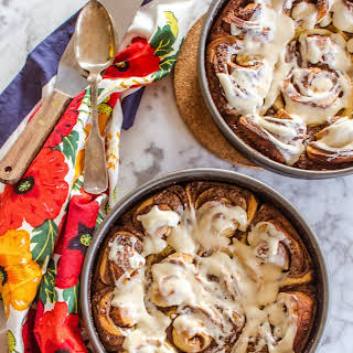 Spicy Sticky Cinnamon Rolls with Cream Cheese Icing.