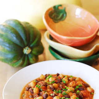 Pumpkin Chili With Black Beans And Garbanzo Beans.