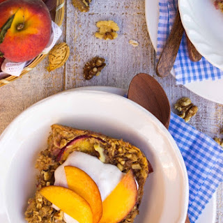 Ginger Peach Oatmeal Bake with Whipped Coconut Cream {gf+v}