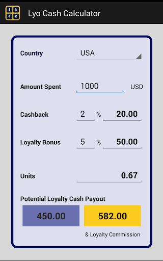 Lyo Cash Calculator