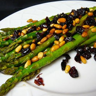 Asparagus with Cranberries and Pine Nuts.