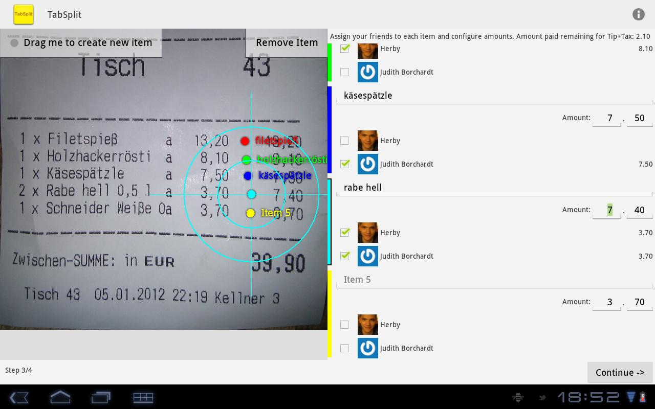 TabSplit- screenshot