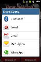 Screenshot of Sounds scary. Ringtones Terror