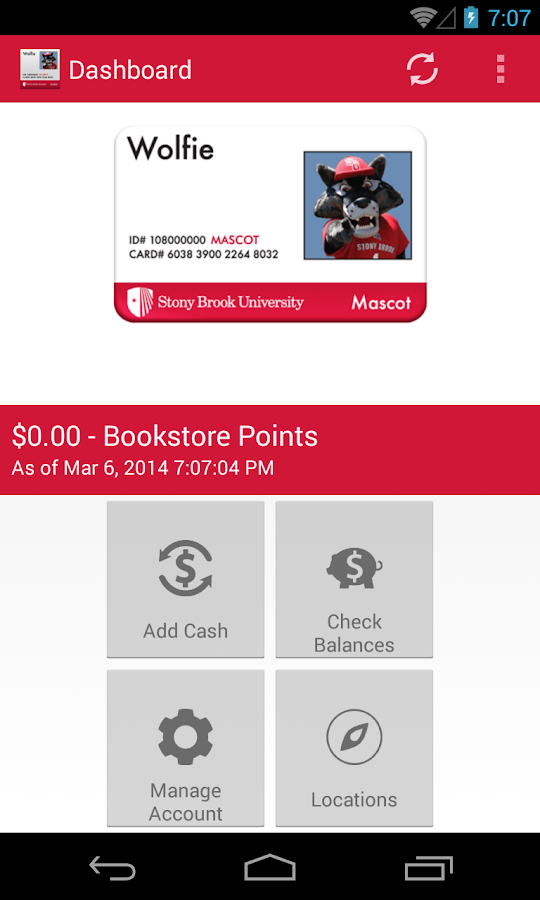 Stony Brook Campus Card- screenshot