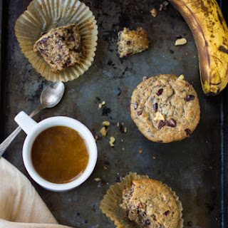 (Gluten-Free) Chocolate Buckwheat Banana Nut Muffins.