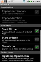 Screenshot of Alirmer (Gmail)