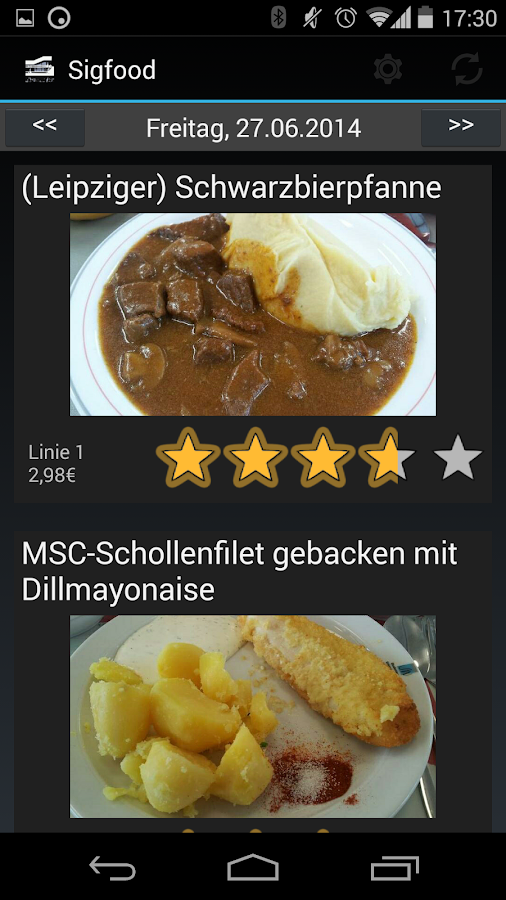 SIGFOOD (Mensa Uni Erlangen)- screenshot