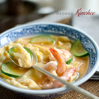 Corn Dumpling Soup with Shrimp.