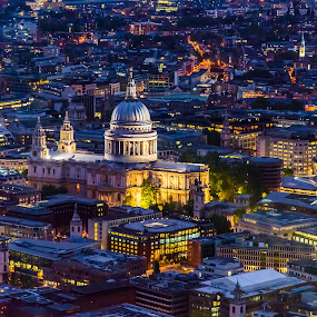 London from above by Franco Beccari - Buildings & Architecture Public & Historical ( uk, london, church, great britain, blue hour, city lights, night, cathedral, light, st. paul's, united kingdom, gb,  )