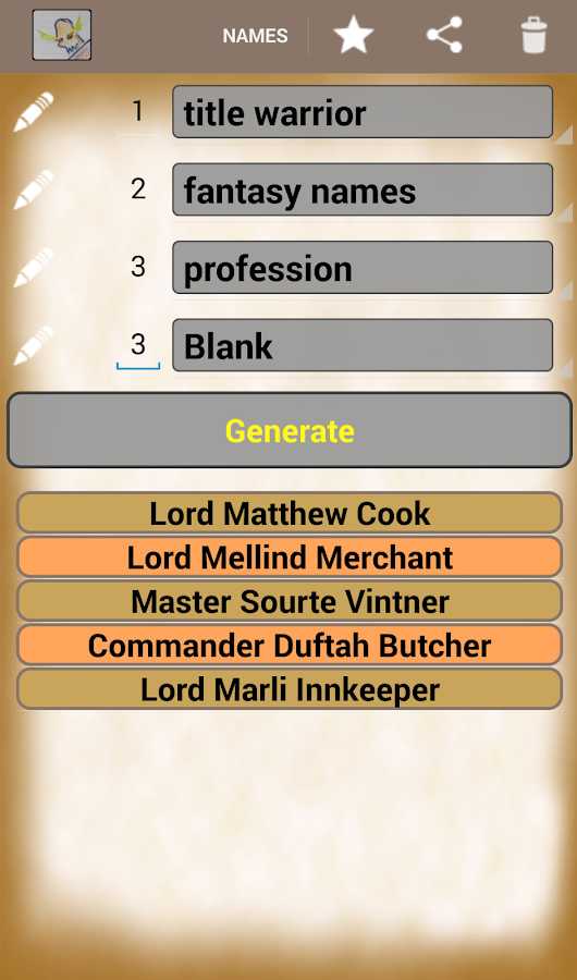 Generate Fantasy Names- screenshot