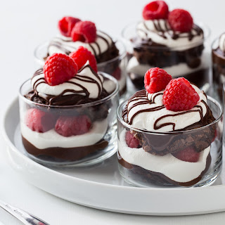 Chocolate Raspberry Brownie Trifles.
