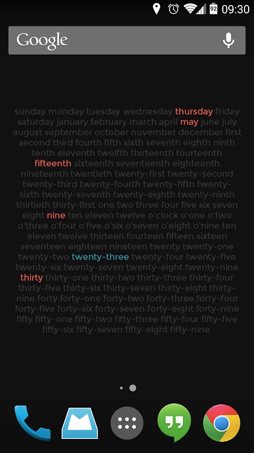 Wordy Clock - screenshot