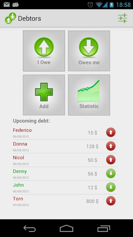 Debtors - screenshot