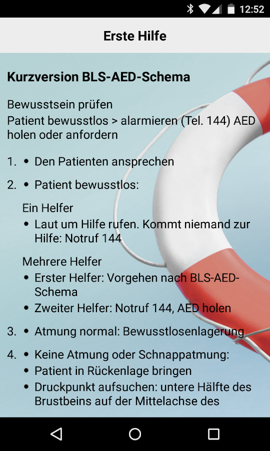 Helvetia Notfall Applikation- screenshot