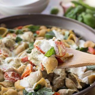 Creamy Cauliflower Pesto Shells with Burrata