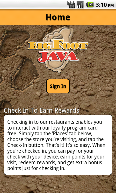 BigFoot Java Rewards- screenshot