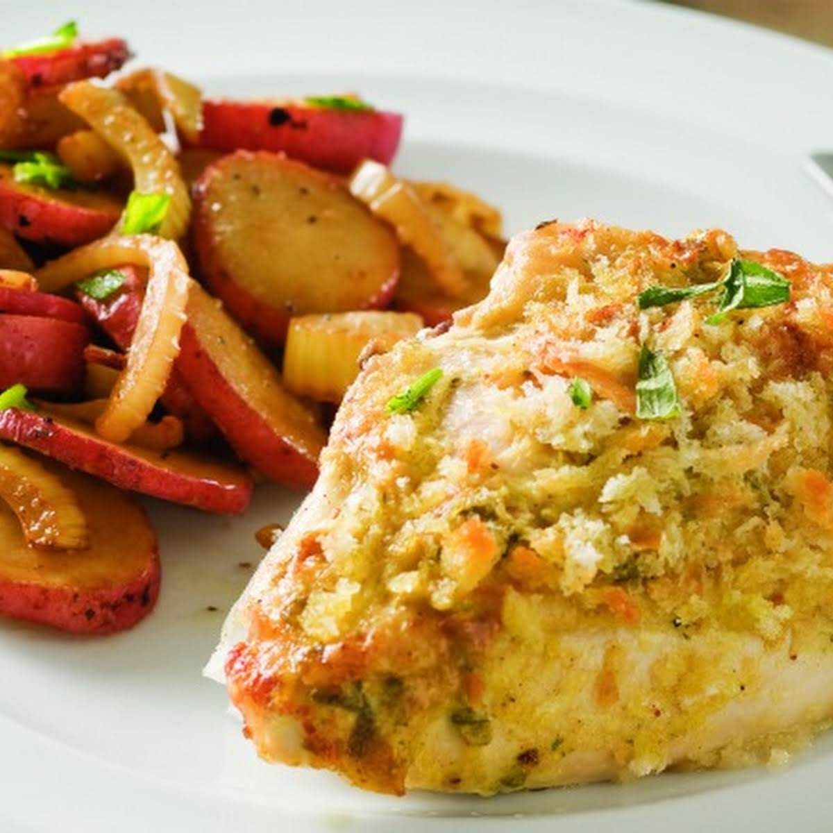 Chicken Breasts Roasted  in the same way as  extra Potatoes and Fennel