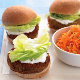 Mediterranean Veggie Burgers with Mint-Yogurt Sauce and Carrot Salad.