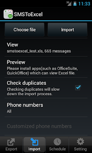 SMSToExcel Backup SMS in Excel- screenshot thumbnail