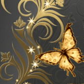 Great Butterfly Gold Live Wall