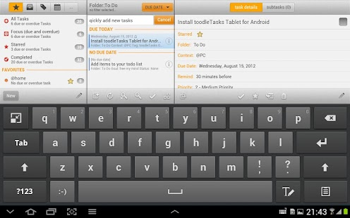 toodleTasks Tablet - Toodledo - screenshot thumbnail