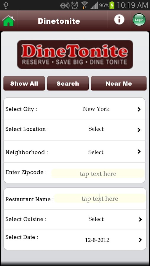DineTonite - screenshot