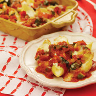 Stuffed Shells With Vegetable Bolognese Sauce.