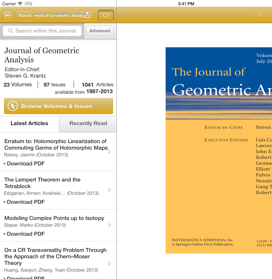 Journal of Geometric Analysis - screenshot