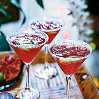 Pomegranate-Key Lime Vodka Cocktails.