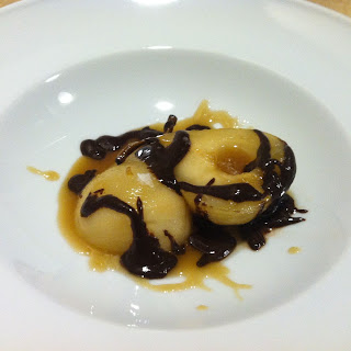 Whisky-Maple Poached Pears with Chocolate Sauce.