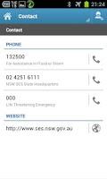 Screenshot of NSW SES