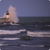 Lighthouse in Stormy Waves HD