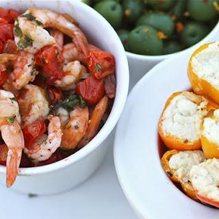 Greek-Style Shrimp With Feta-Stuffed Peppers.