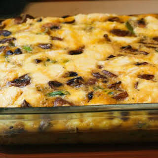 Breakfast Casserole with Asparagus, Mushrooms, and Goat Cheese.