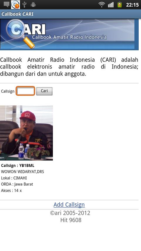 Callbook- screenshot