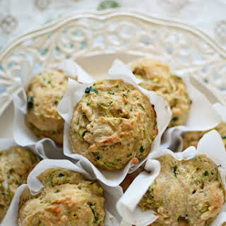 Savory Whole Grain Zucchini Cheddar Muffins.
