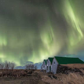 Going Green by Sigurður Brynjarsson - Landscapes Starscapes ( old, grass, bright, aurora, star, shine, house, landscape, nightscape, farm, field, northern, iceland, sky, tree, borealis, dark, night, light, starscape )
