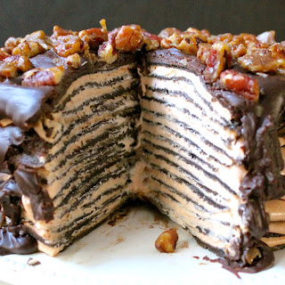 Chocolate Crepe Cake with Pumpkin Mascarpone Cream Filling.