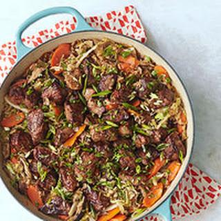 Hoisin-Glazed Pork Mu Shu Casserole.