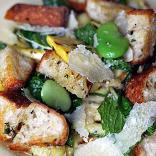 Fava Beans with Grilled Zucchini and Homemade Garlicky Croutons.